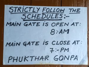 Phuktal Monastery Timings