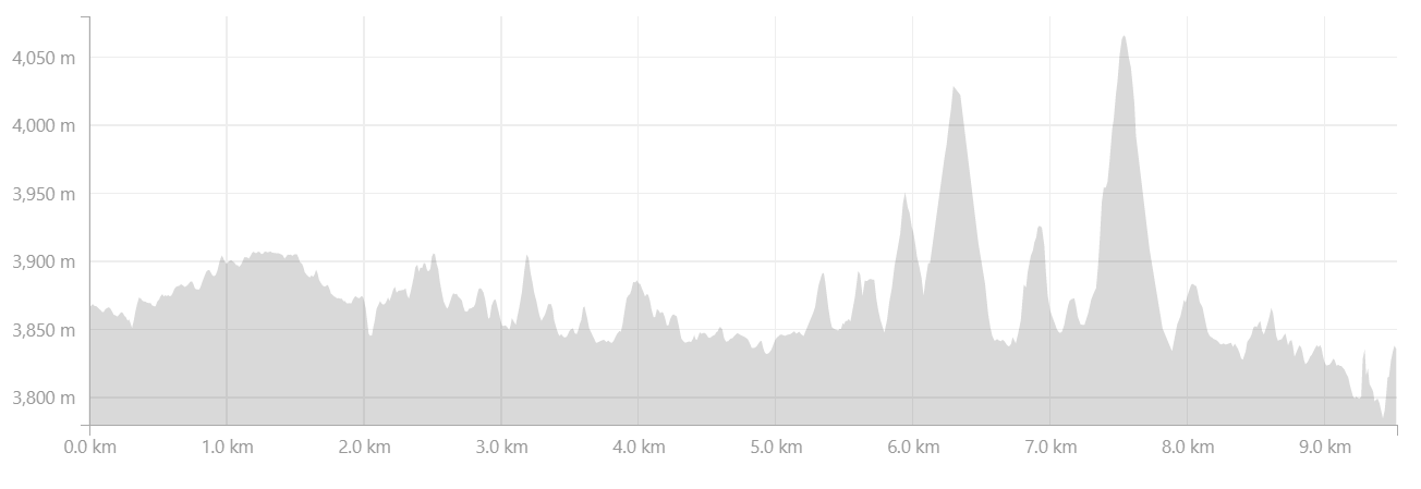 Elevation Profile from Purne to Phuktal Monastery in Zanskar Valley