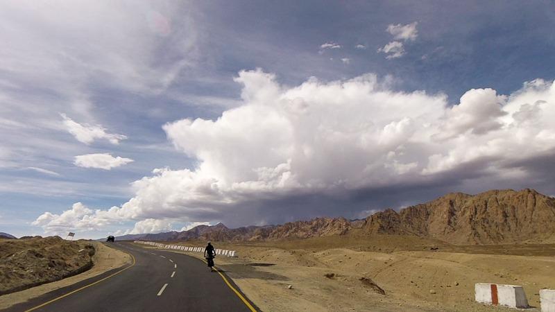 Cycling downhill in Ladakh