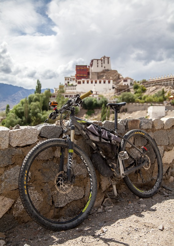 Cycling to Thikse Monastery