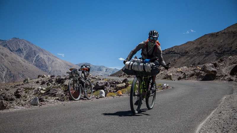 Cycling near Khalsar in Ladakh