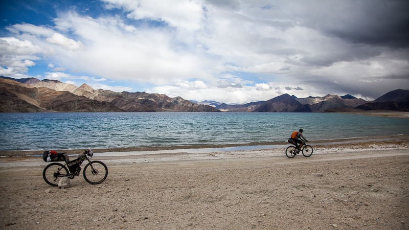 Cycling along Pangong Tso