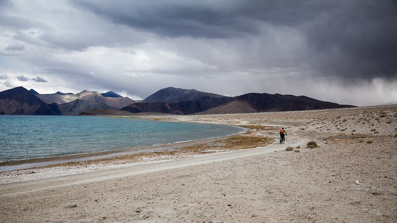Cycling along Pangong Tso Lake in Ladakh
