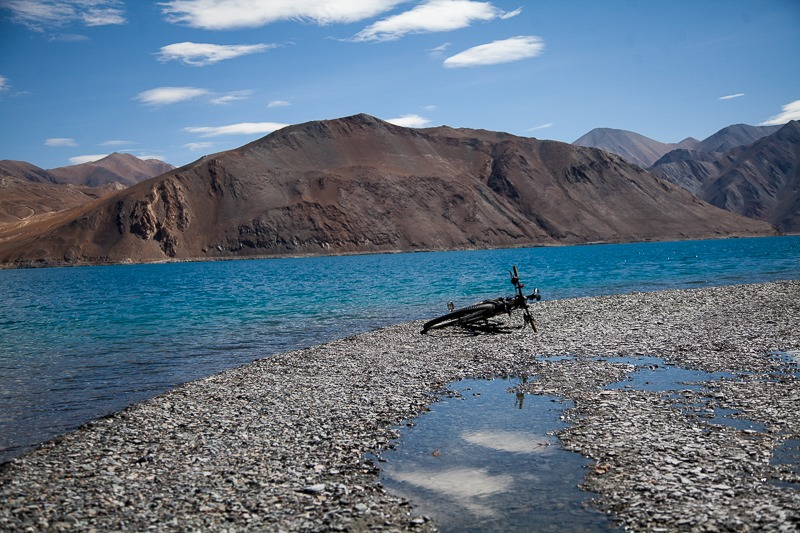 Cycling on the banks of the Pangong Tso Lake