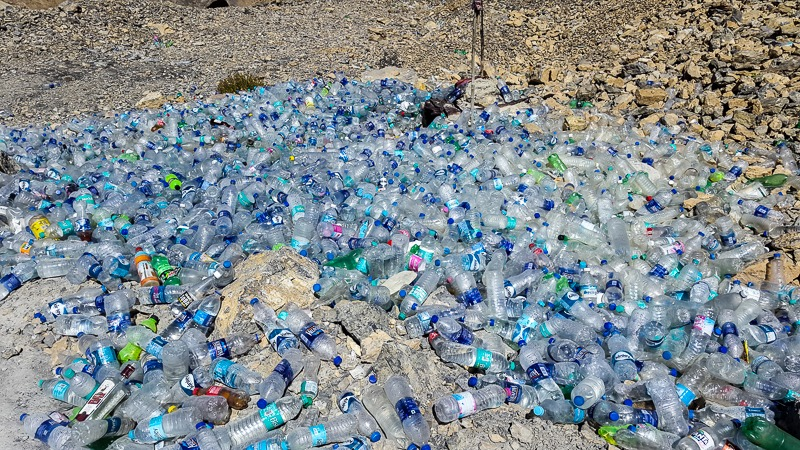 Plastic bottles on the Leh-Manali highway