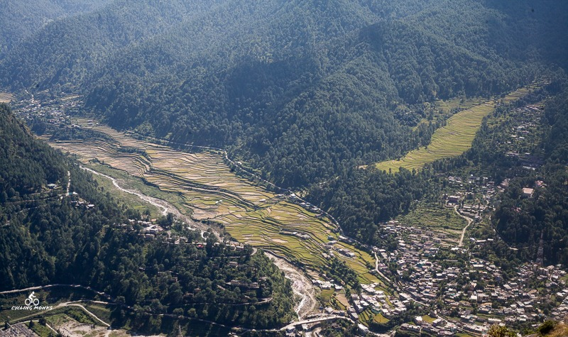Uttarkashi town from above