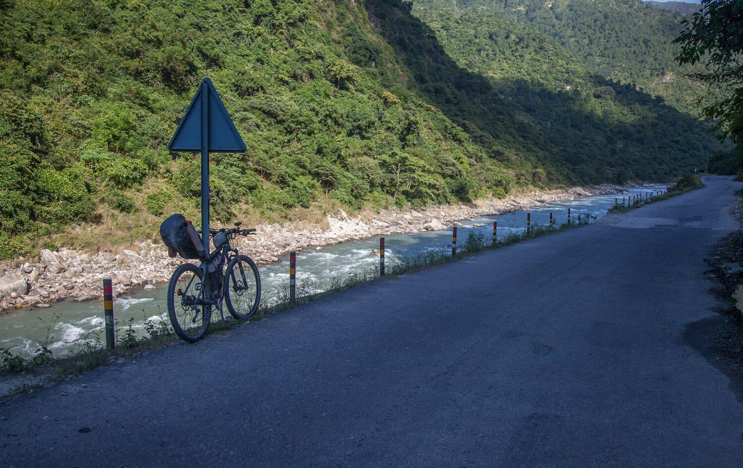 Cycling in Garhwal. Pindar River