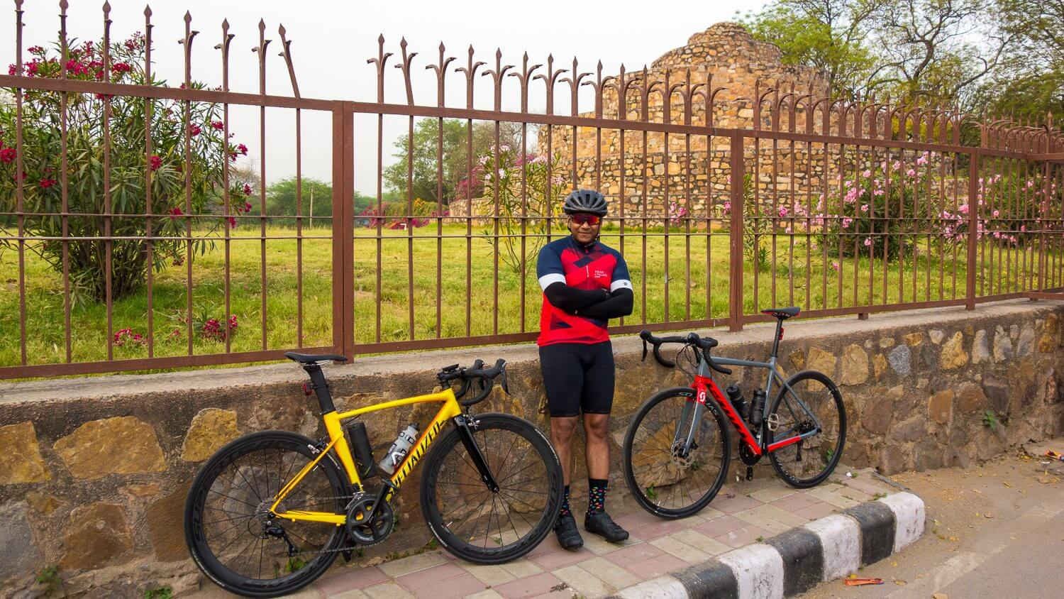 Himanshu Gupta with his cycles at Qutab Minar complex