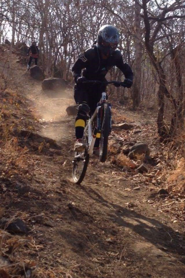 downhill with Slade Gomes on a hardtail
