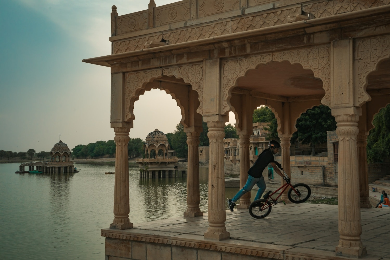 Cycling at Gadisisar Lake Jaisalmer