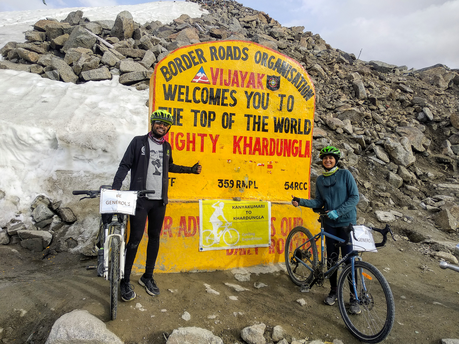 Cycling from Kanyakumari to Ladakh, Khardung La...