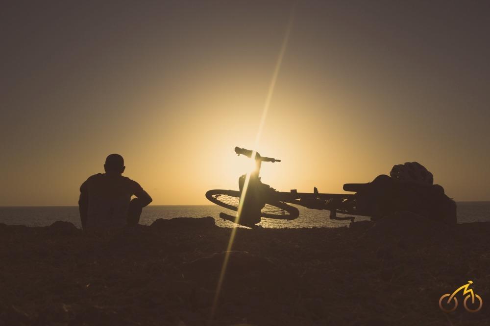Cycling sunset on Konkan Coast