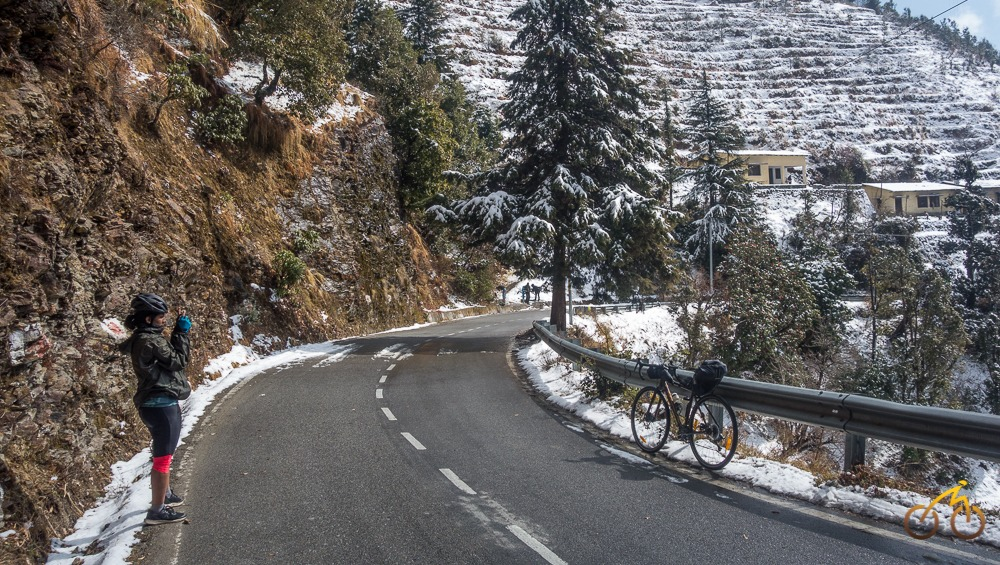 snow while cycling in Garhwal in February