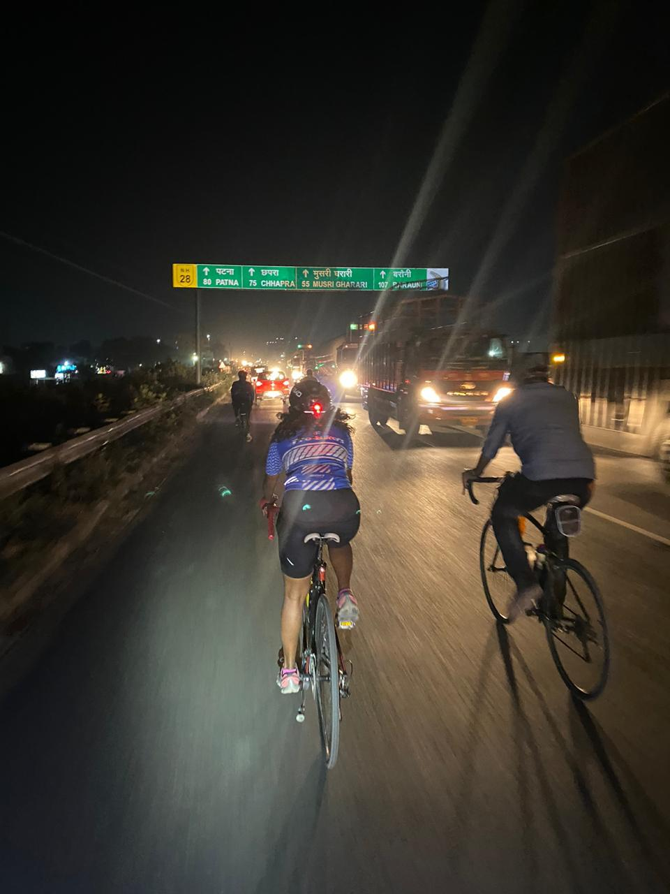 Grinshina Kartik riding in Bihar